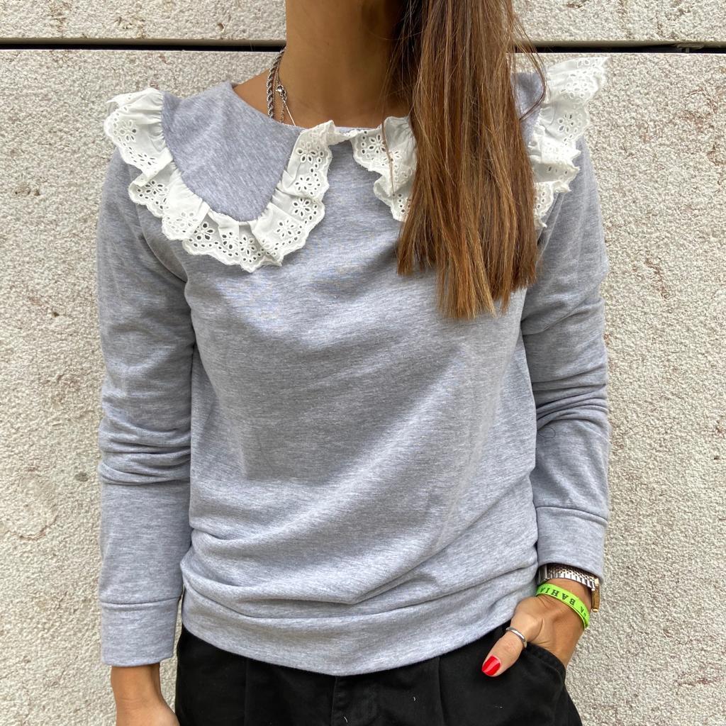 Camisola Gola Renda | Cinza