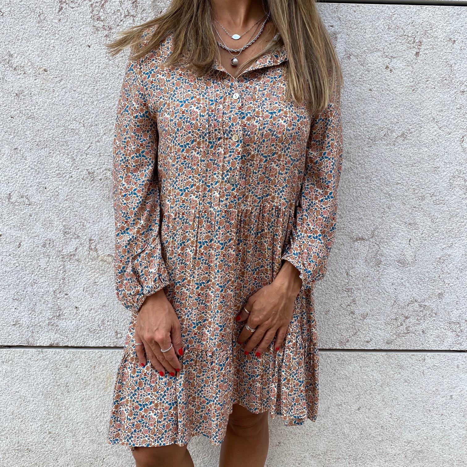 Vestido Floral Outono | Fundo Creme