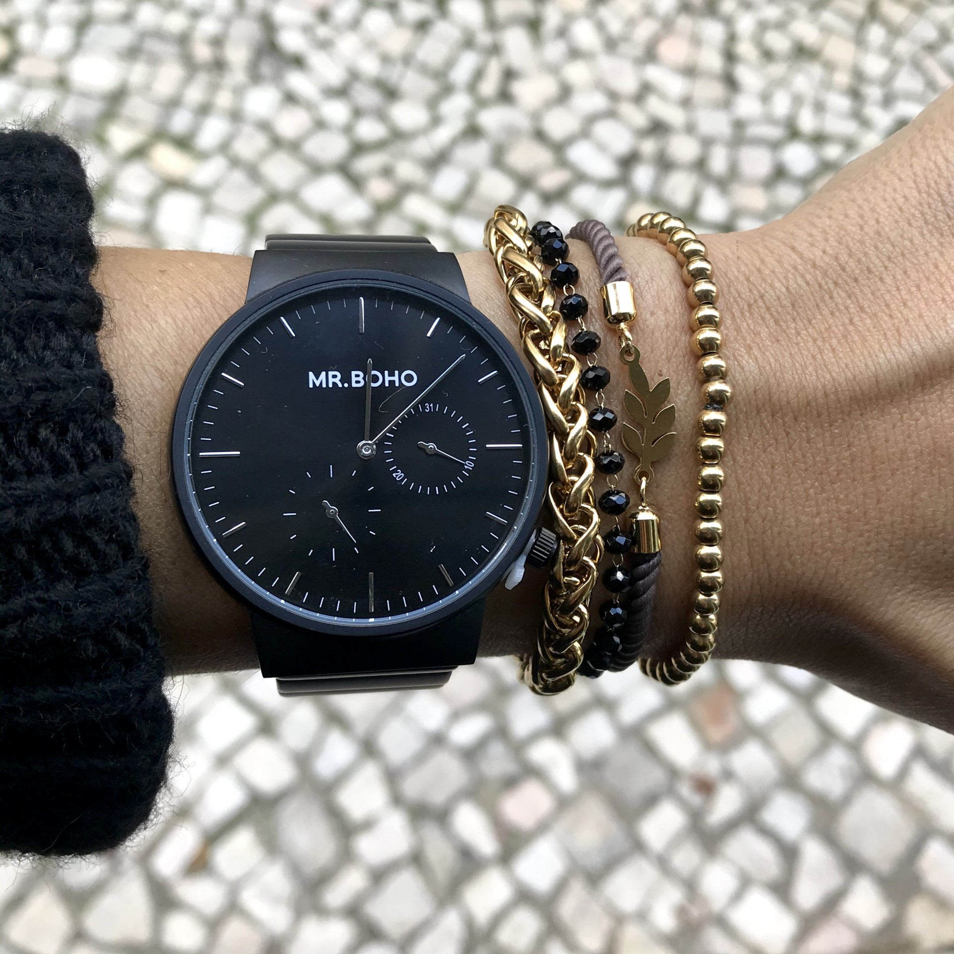 Pulseira Tecido Dourado | Folha de Oliveira