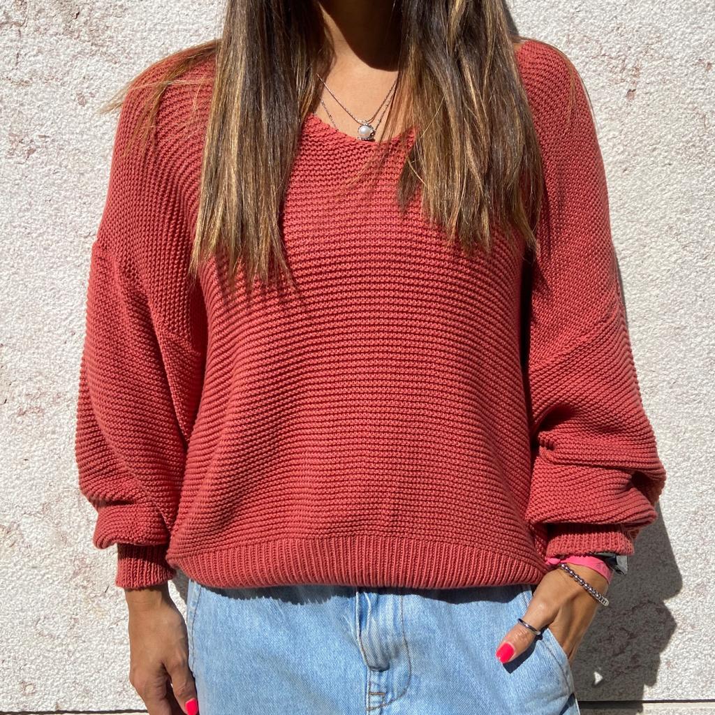 Camisola Malha decote V | Rosa Escuro