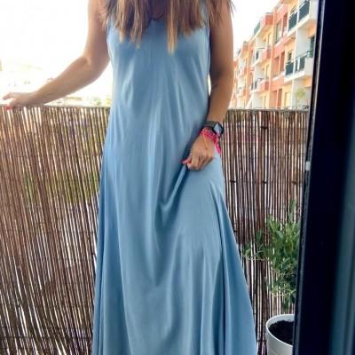 Vestido Liso Comprido | Azul