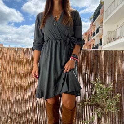 Vestido Cruzado | Cinza Escuro