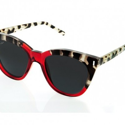 LUNE   SHINY BICOLOR WHITE TORTOISE/RED WITH BLACK LENSES