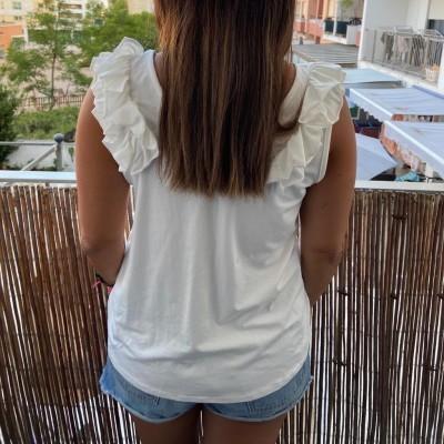 T-Shirt Folhinho no Ombro | Kaki
