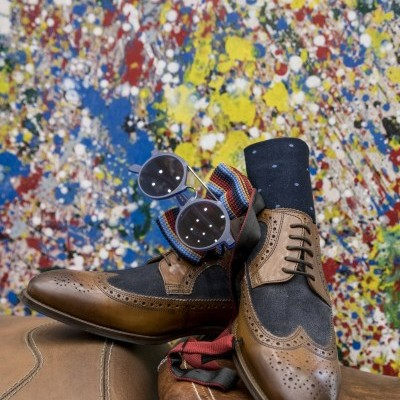 Sapatos Full Brogue jeans and leather