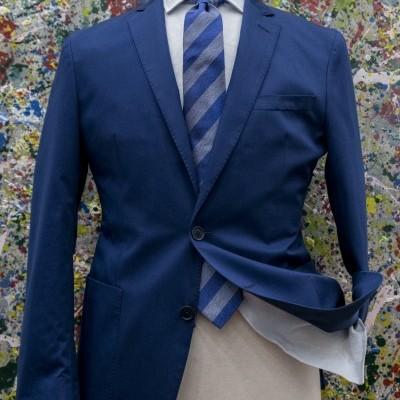 Casaco Desportivo azul aberto em algodão