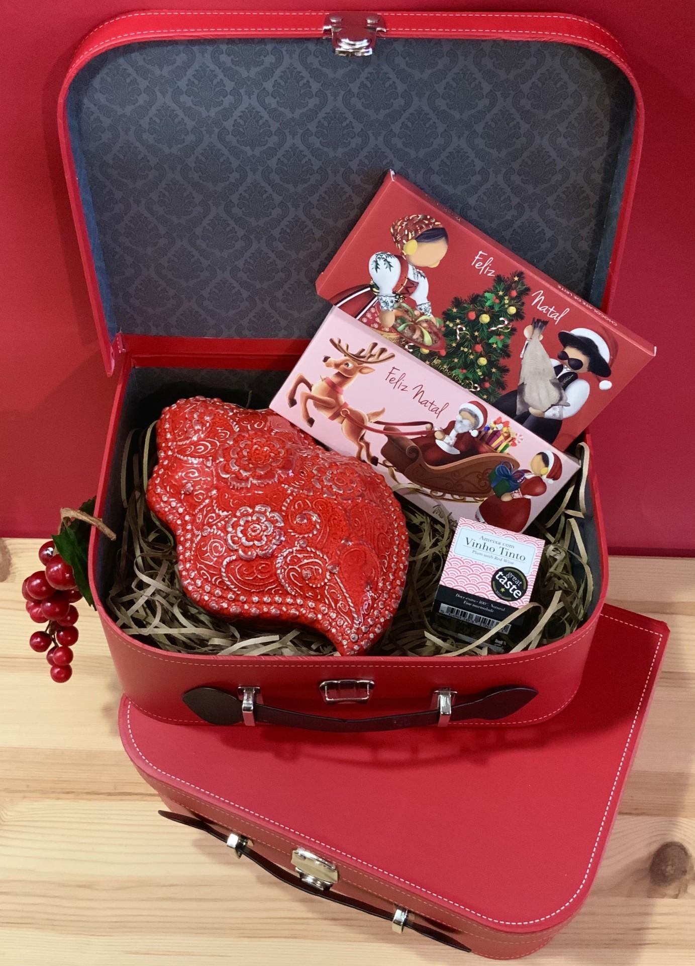Mala de Natal Coração de Viana Vermelho