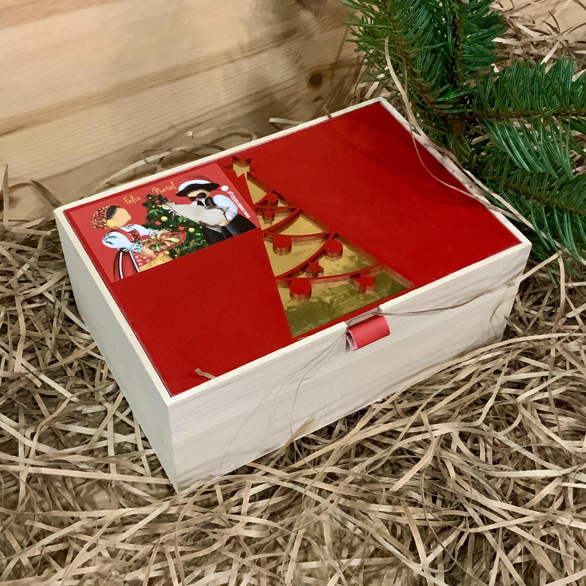 Cabaz Caixa Madeira Peq. Folha vermelha