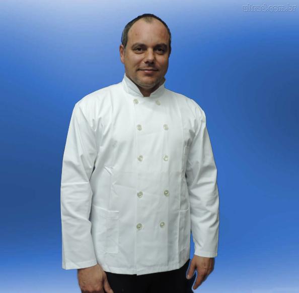 Jaleca de Cozinheiro Sarja 65% Poliester 35% Algodão