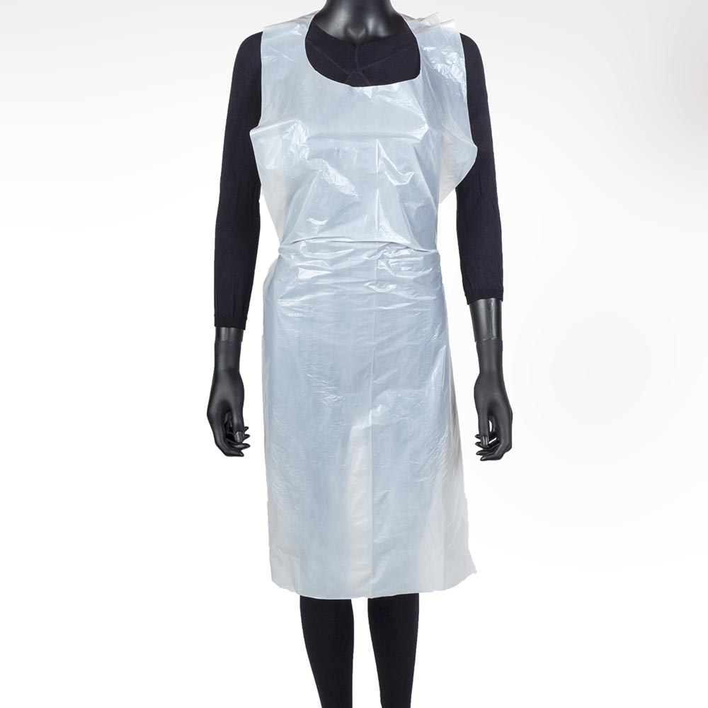Avental Branco Impermeável Descartável em Polietileno  Emb.100 UNI. 0,06€