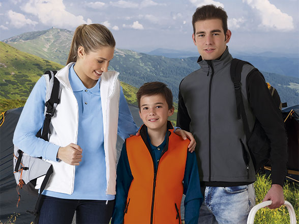 Colete softshell 85% Polyester, 10% PU, 5% Elastano, Tecnologia Softhell 350 grs/m2