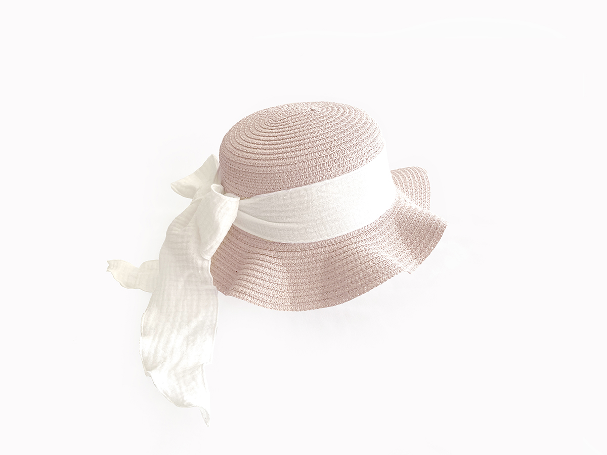 Kids Brook Hat - Rose Straw - Vanilla + Berry