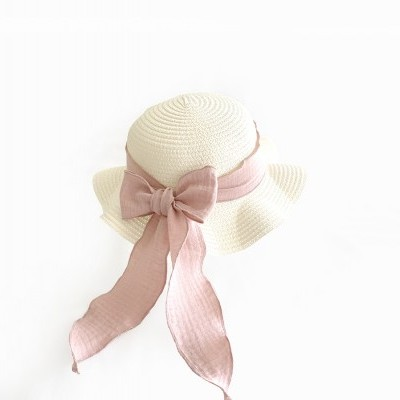 Kids Brook Hat - Vanilla straw - blush + olive