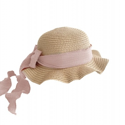 Kids Brook Hat - Dark straw - Blush + Ivory
