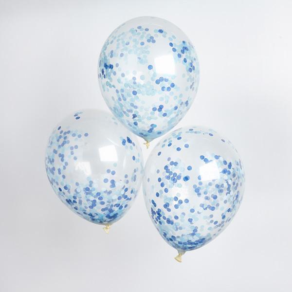 Balões Transparentes - Blue Confetti, pk/5