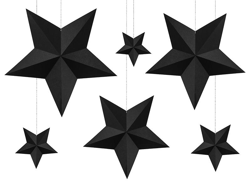 Decorações Estrelas Pretas , pk/6