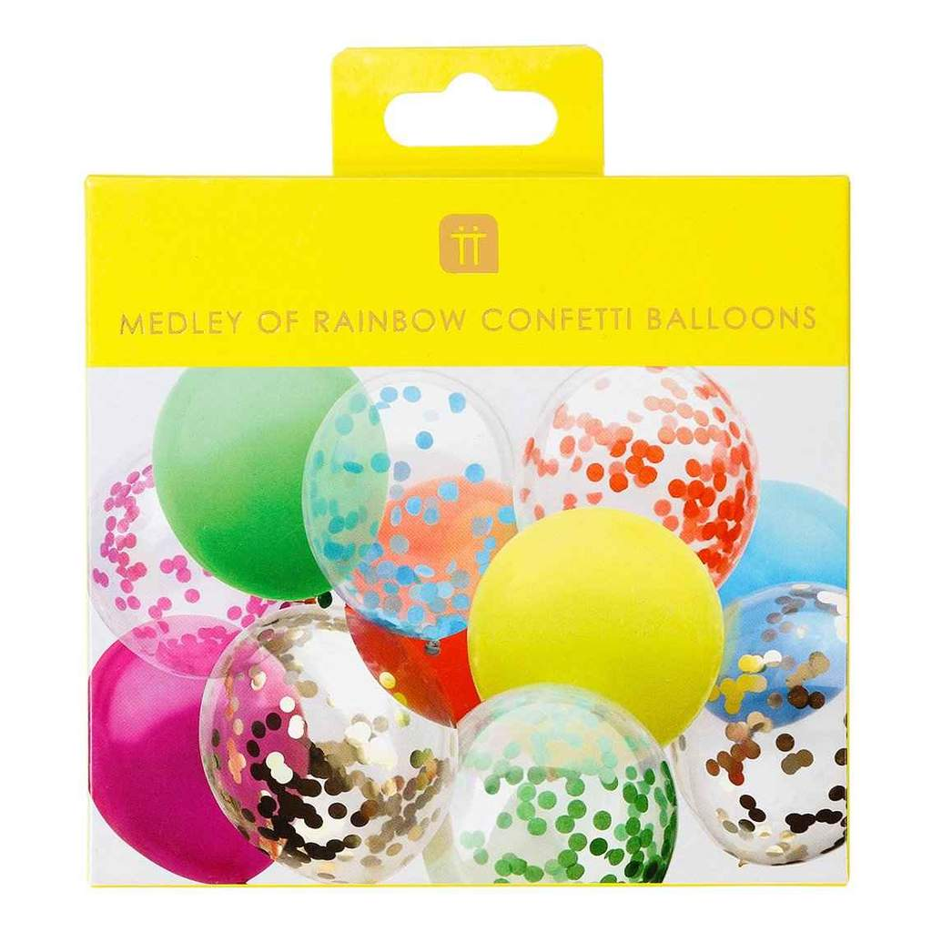 Balões Rainbow Brights Confetti, pk/12