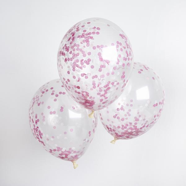 Balões Transparentes - Pink Confetti, pk/5