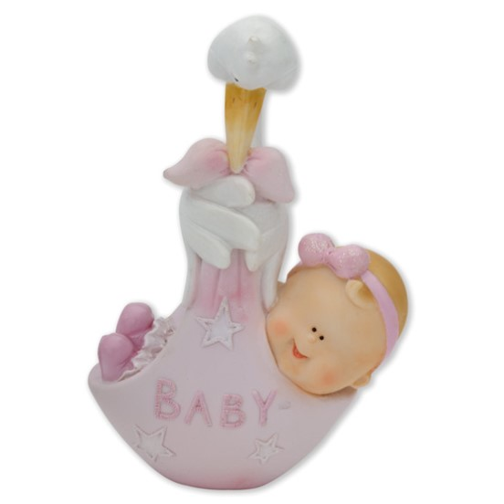 Topo Bolo Bebe Na Cegonha 90mm - Rosa