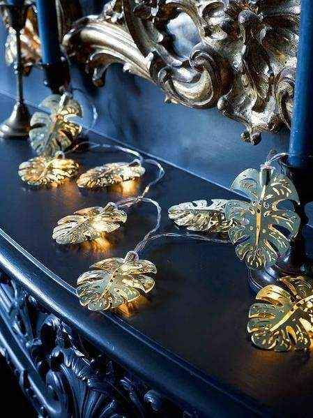 Luzes Decorativas Folhas Ouro