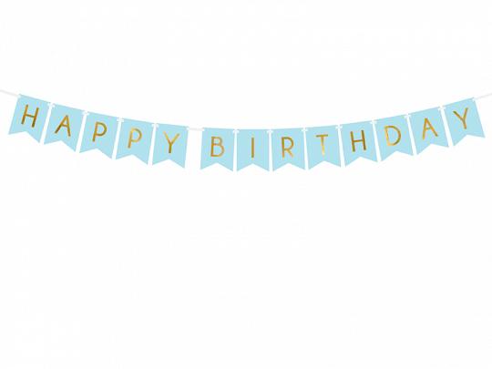 Banner Happy Birthday, Azul Claro
