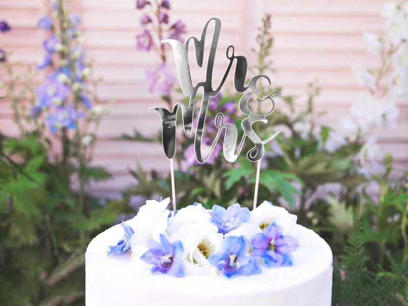 Cake topper Mr&Mrs Prateado