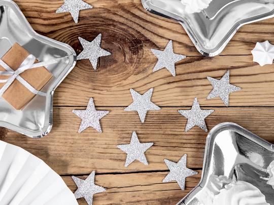 Decorações Estrelas Glitter Prateada,pk/8