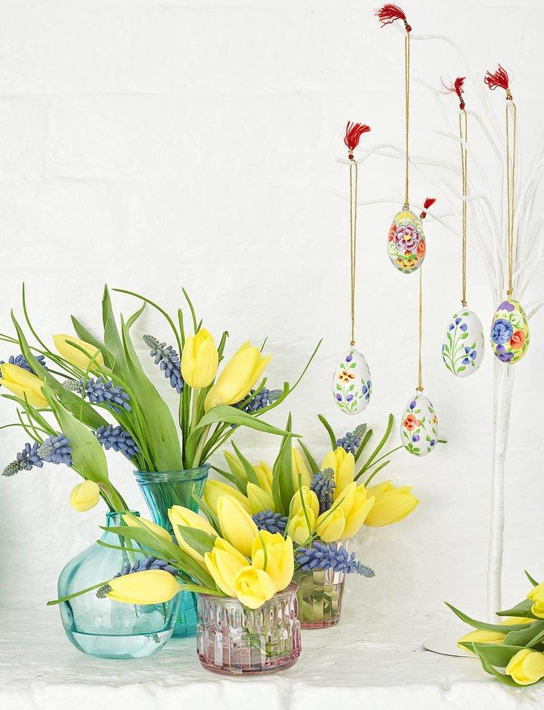 Ovos Decorativos Branco Truly Bunny - Pintado Mão