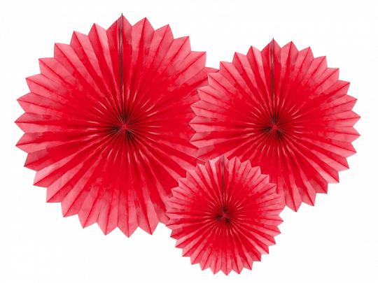 Leques Decorativos Vermelho,pk/3