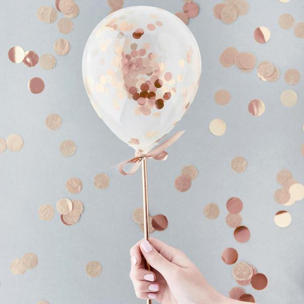 Kit Mini Balões Confetti - Rose Gold pk/5