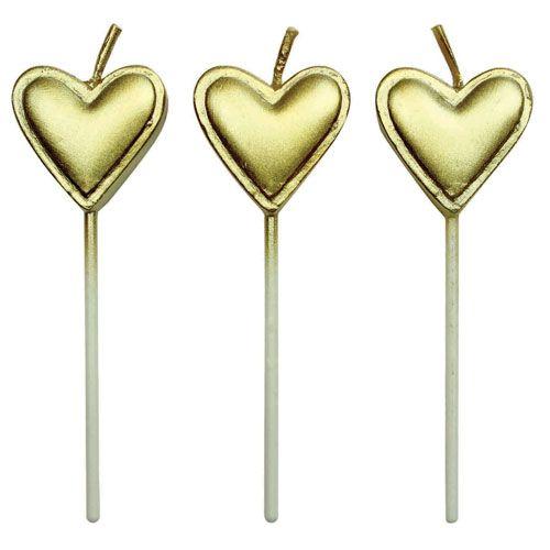 Velas Coração Douradas,pk/8