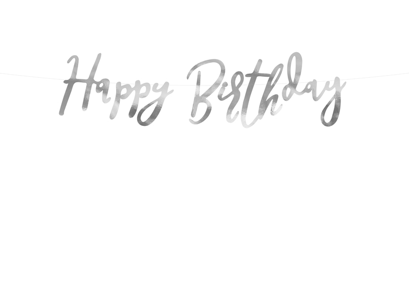 Banner Happy Birthday, Silver 16.5x62cm