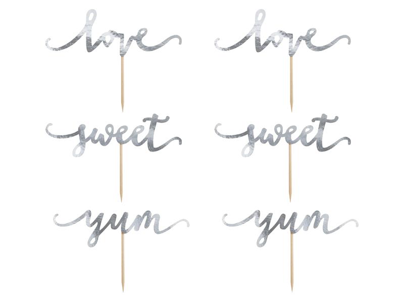 Cupcake toppers Love Sweet Yum, Prateado,pk/6
