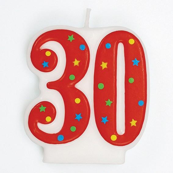 Vela Nº30 Vermelha Colorida
