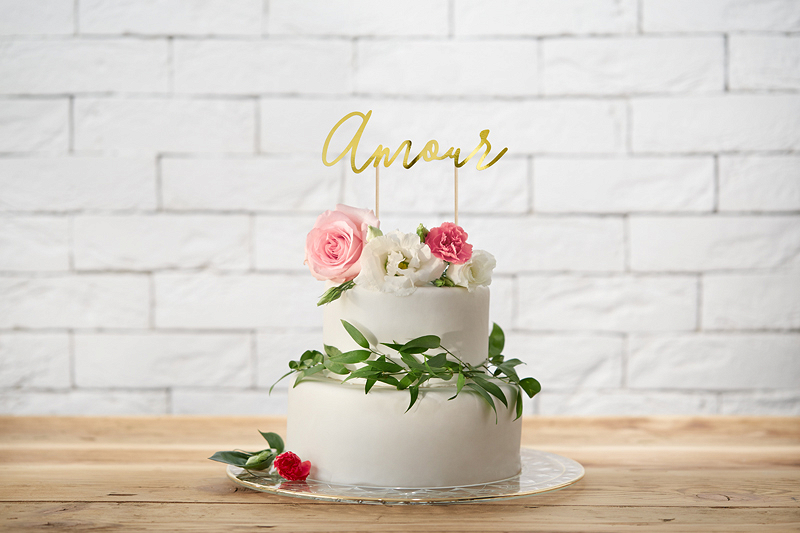 Cake Topper Amour Gold