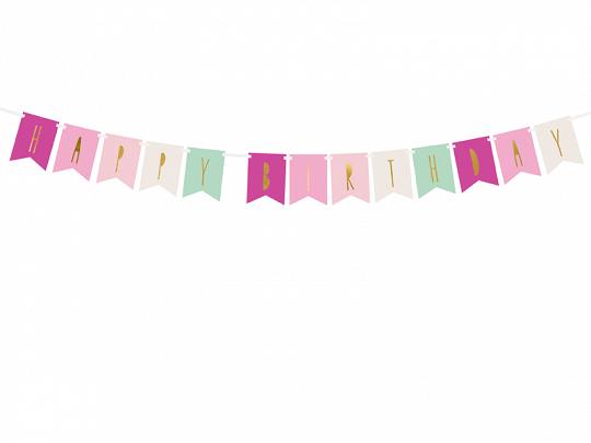 Banner Happy Birthday, Gold Pink