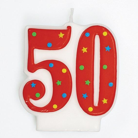 Vela Nº50 Vermelha Colorida