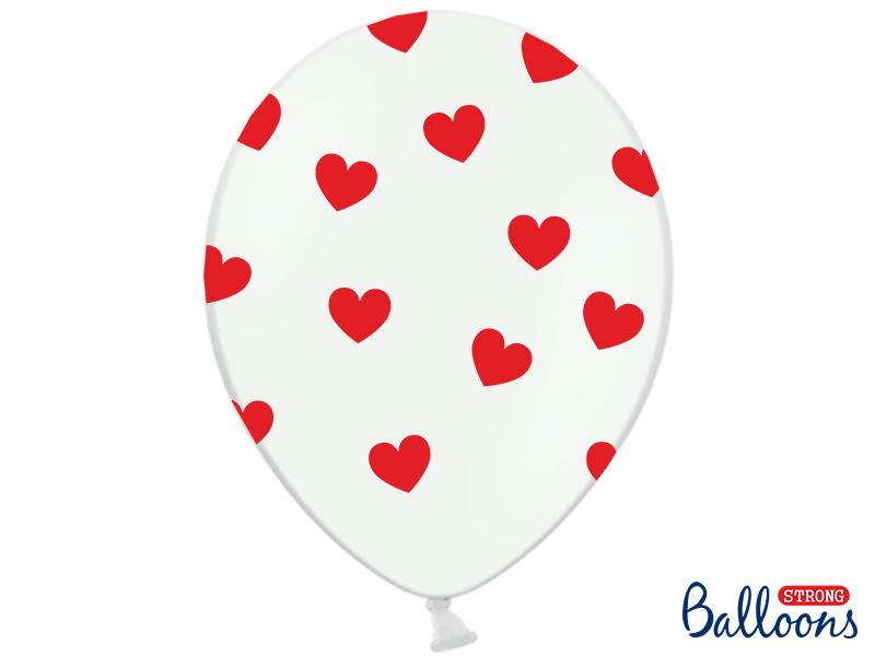 Balões Hearts pastel Pure White,pk/6