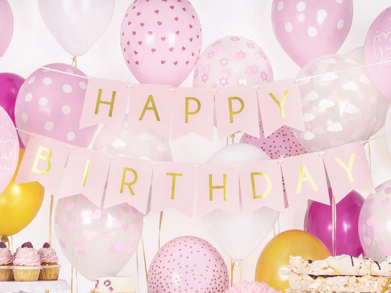 Banner Happy Birthday, Rosa Claro