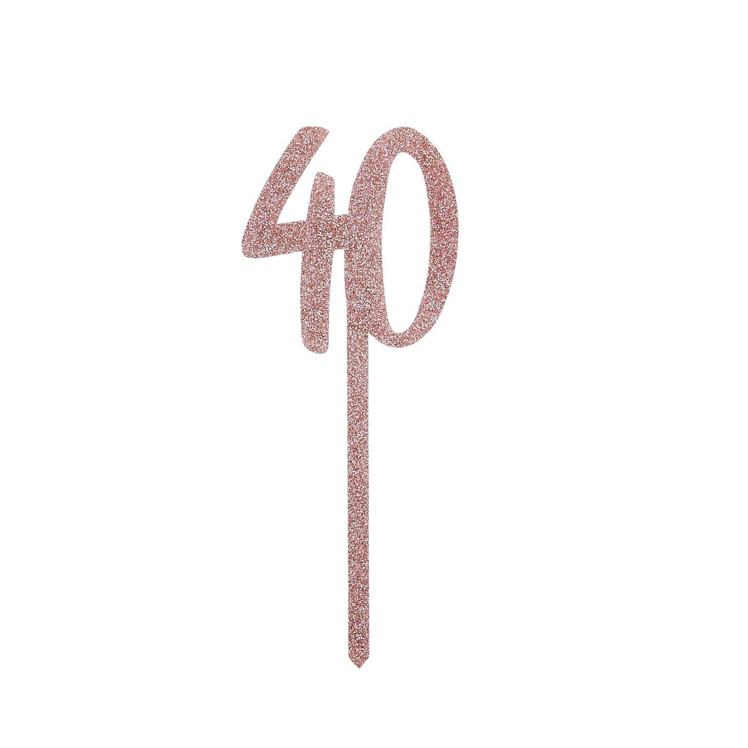 Topo Bolo Acrilico 40 - Rose Gold