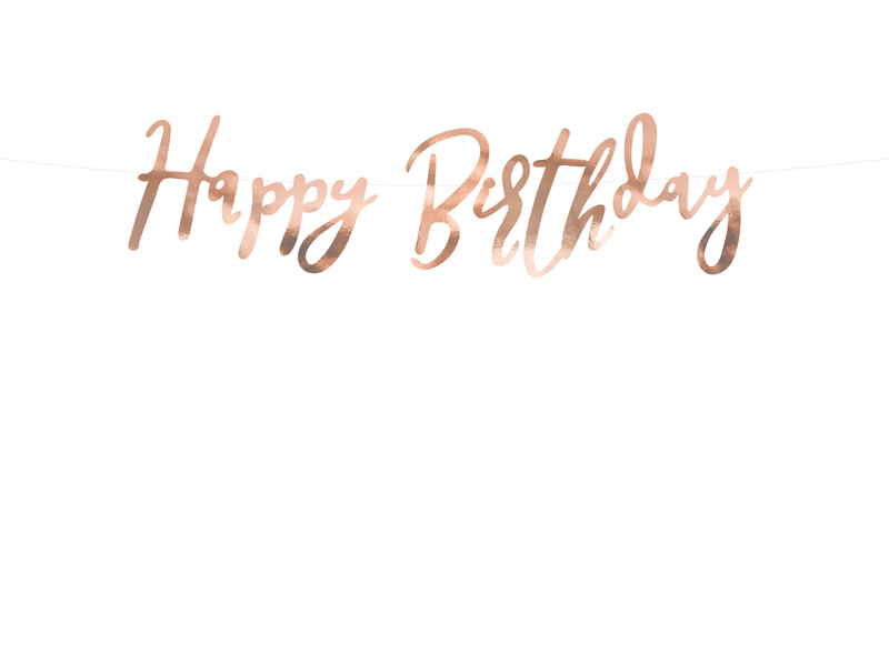 Banner Happy Birthday, Rose Gold 16.5x62cm