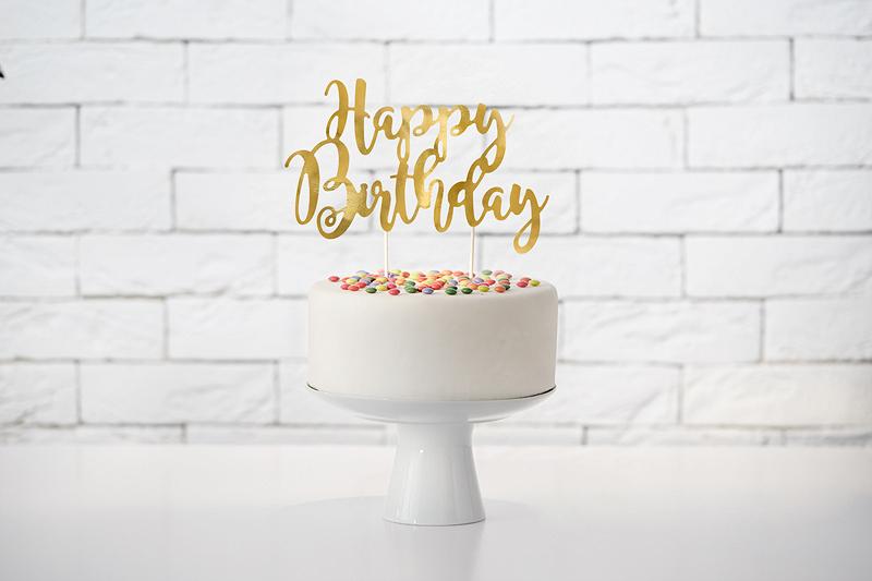 Cake Topper HBirthday Dourado