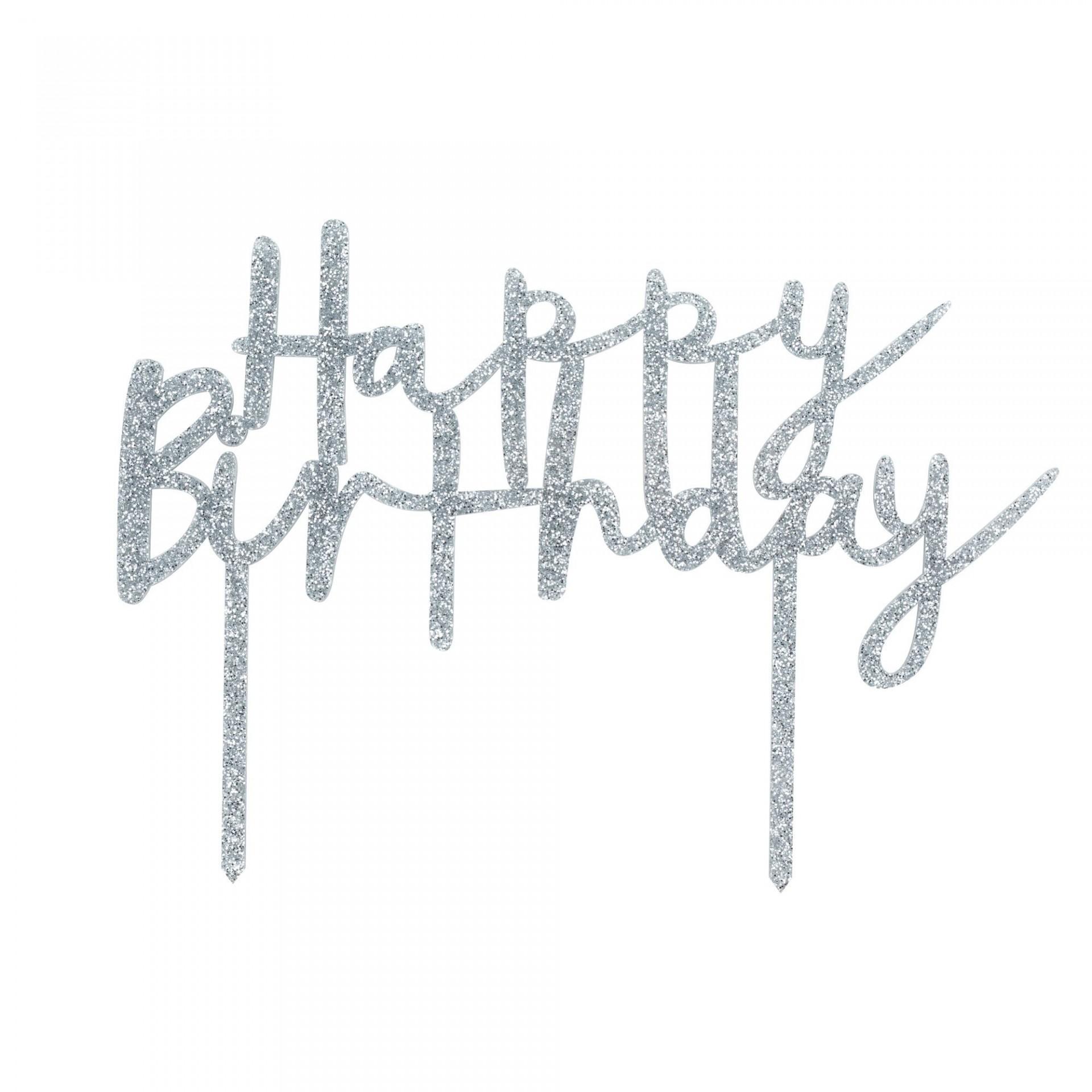 Topo Bolo Acrilico HappyBirthday - Silver
