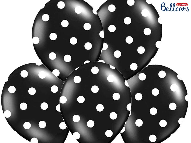 Balões Pintas 30cm - Preto/Branco,pk/6