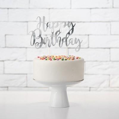 Cake Topper HBirthday Prateado