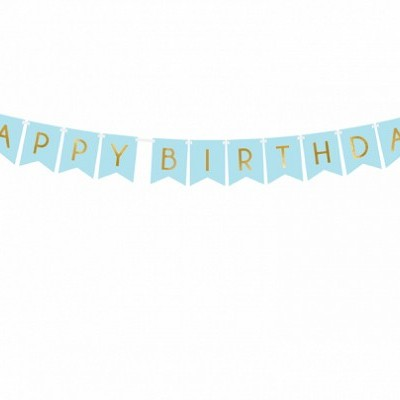 Banner Happy Birthday, Azul Claro