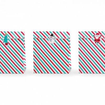 Gift Bags Merry Christmas Stripes,pk/3