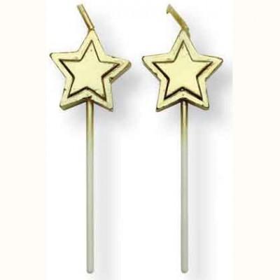 Velas Estrelas Ouro, pk/8