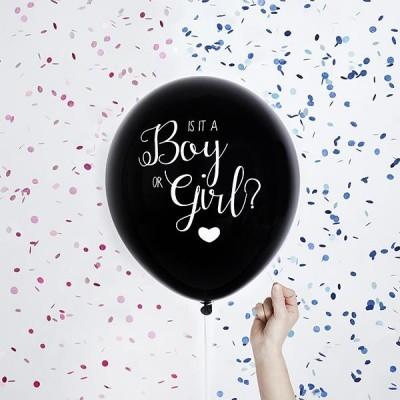 Balão Gender Reveal Blue Confetti 40cm
