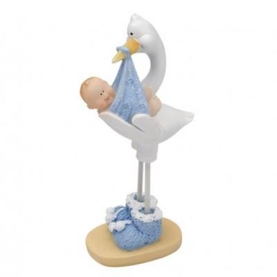 Topo Bolo Cegonha Bebe Azul  50 x 30 x 100mm